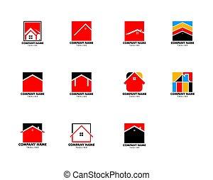 テンプレート, ベクトル, デザイン, 広場, イラスト, 家, セット, ロゴ