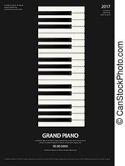 テンプレート, ポスター, イラスト, ベクトル, 音楽, 背景, グランドピアノ