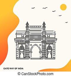 テンプレート, ポスター, 旅行, インド, 方法, 門