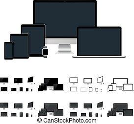 テンプレート, モビール, タブレット, smartwatch, デスクトップ, 現実的, ベクトル, コンピュータ, ...
