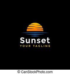 テンプレート, ロゴ, デザイン, 浜, 日没