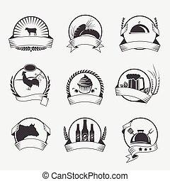 テンプレート, ロゴ, プロダクト, セット, 搾乳場