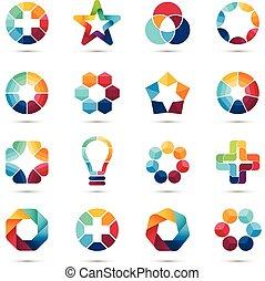 テンプレート, 三角形, symbols., elements., ロゴ, set., 抽象的, 創造的, 六角形, 円...