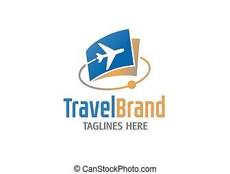 テンプレート, 代理店, 旅行, ベクトル, ロゴ