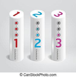 テンプレート, 円筒状である, 現代, style.numbered, infographic, デザイン,...