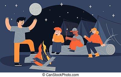 テンプレート, 子供, 言うこと, 恐い, モデル, キャンプ, 子供, ∥(彼・それ)ら∥, stories., カラフルである, 夏, ポスター, テント, たき火