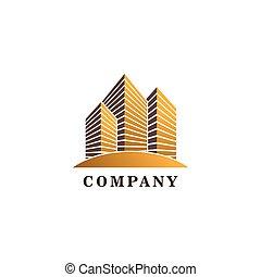 テンプレート, 実質, 建物, 財産, ロゴ, デザイン, 金