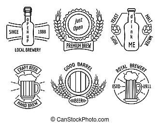 テンプレート, 家, ビール, 技能, ロゴ, 線, 醸造所
