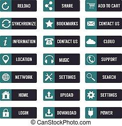 テンプレート, 平ら, 要素, ボタン, icons., website., デザイン, 網