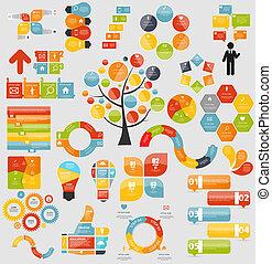テンプレート, 平ら, mega, ビジネス, vecto, コレクション, infographic