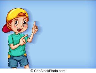 テンプレート, 幸せ, デザイン, 男の子, 指を 指すこと, 背景