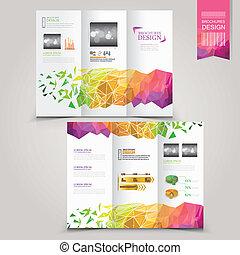 テンプレート, 幾何学的, 現代, パンフレット, 広告, 概念