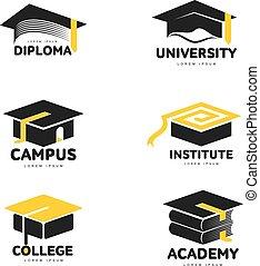 テンプレート, 広場, グラフィック, 帽子, 学者, 黒, 卒業, ロゴ, 白