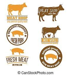 テンプレート, 店, セット, 紋章, 肉, 型, 屠殺場, ラベル, ロゴ