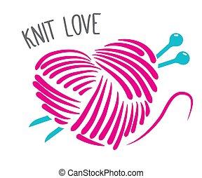 テンプレート, 技能, 刺繍, バッジ, デザイン, 愛, 線である, 作られた, 紋章, ハンドメイド, 編まれる, -, スタイル, セット, 単純である, ファッション, ロゴ, ベクトル