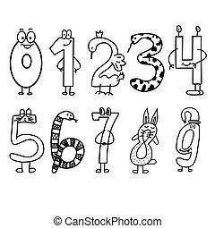 テンプレート, 数学, 本, ベクトル, illustration., 微笑, 活動, デザイン, 着色, 成人, 漫画, 数, style., page.