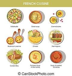 テンプレート, 料理, 皿, 食物, メニュー, フランス語, ベクトル