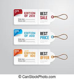 テンプレート, 旗, タグ, 紙カード, セール, ベクトル, 価格, collection.