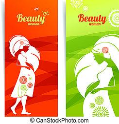テンプレート, 旗, woman., カード, デザイン, 妊娠した, シルエット
