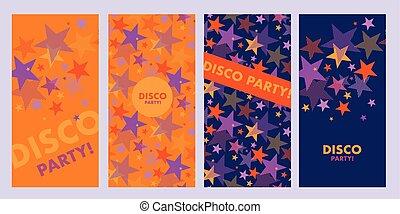 テンプレート, 星, ポスター, 明るい, すみれ, オレンジ