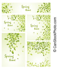 テンプレート, 春, セット, 緑