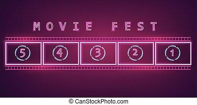 テンプレート, 暗い, 映画館, 祝祭, 映画, ネオン 印, シンボル, バックグラウンド。, 白熱, vector., 広告板, shinning, フィルム