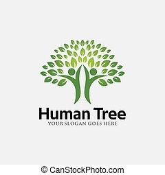 テンプレート, 木, ロゴ, 人間, ベクトル