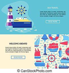 テンプレート, 概念, テキスト, 場所, 冒険, 海, 旗