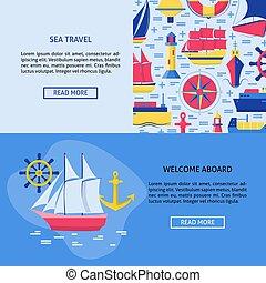 テンプレート, 概念, テキスト, 旅行, 場所, 海, 旗