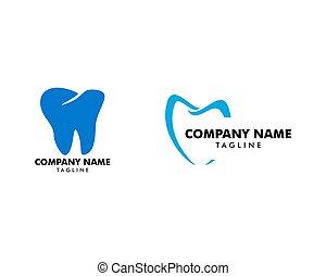 テンプレート, 歯医者の, ベクトル, セット, ロゴ, デザイン