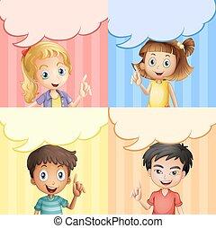 テンプレート, 泡, スピーチ, 子供