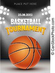 テンプレート, 現実的, トーナメント, 活躍の舞台, バスケットボール, デザイン, 法廷, バックグラウンド。, 旗, ベクトル, ゲーム, バスケット, poster.
