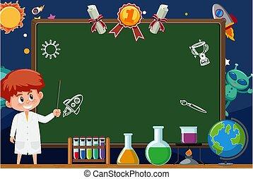 テンプレート, 男の子, スペース, ガウン, 旗, 実験室, 背景