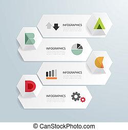 テンプレート, 番号を付けられる, 使われた, ライン, infographics, デザイン, /, ベクトル, ...