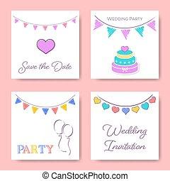 テンプレート, 結婚式, カード, 招待