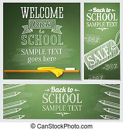 テンプレート, 網, 学校, セット, テキスト, -, 別, サイト, サンプル, message., ベクトル, 場所, 旗, あなたの