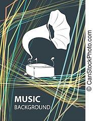 テンプレート, 背景, gramophone., 音楽, ベクトル