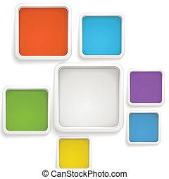 テンプレート, 色, テキスト, 抽象的, boxes., 背景