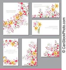 テンプレート, 花, かわいい, 花, 春, 束