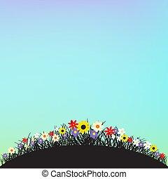 テンプレート, 花, ラウンド, 形, 丘