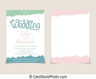 テンプレート, 要素, 結婚式, 水彩画, 招待, .vector, カード