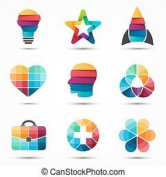 テンプレート, 要素, set., 現代, シンボル。, 抽象的, 創造的, bundle., ベクトル, デザイン, ...