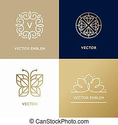 テンプレート, 金, スタイル, 線である, 抽象的, 現代, 色, ベクトル, デザイン, 最新流行である, ロゴ