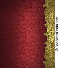 テンプレート, 金, デザイン, 背景, cutout., 赤