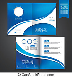 テンプレート, 青, パンフレット, デザイン, 広告