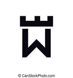 テンプレート, 頭文字, ベクトル, w, ロゴ, 城, 要塞