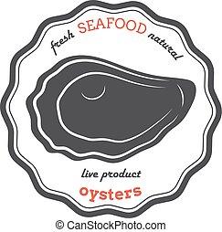 テンプレート, 食物, シーフードの店, silhouette., ベクトル, label., packaging., レストラン, カキ, illustration.