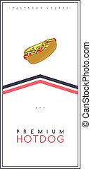 テンプレート, 食物, ポスター, 飲みなさい, 犬, 暑い, 主題, ベクトル, フライヤ, パンフレット, hotdog