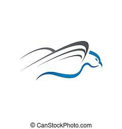 テンプレート, 鳩, 創造的, ベクトル, 単純である, ロゴ, デザイン, 飛行