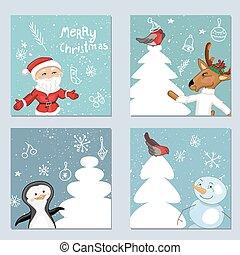 テンプレート, 4正方形, クリスマス, characters.